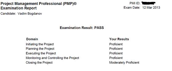 Управление проектами: статьи - Результаты экзамена PMP