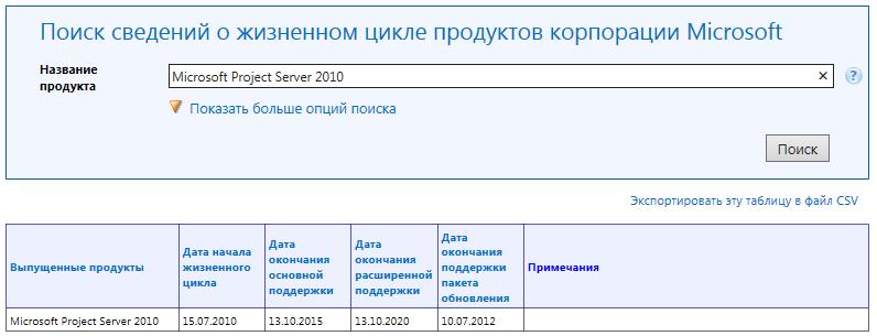 Управление проектами: статьи - Сведения о сроках поддержки Microsoft Project Server 2010 на сайте корпорации Microsoft
